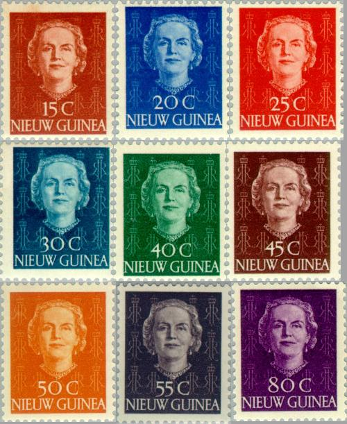 1950, NG 10-18, 15-80 cent, frankeer zegel koningin Juliana type 'en Face'